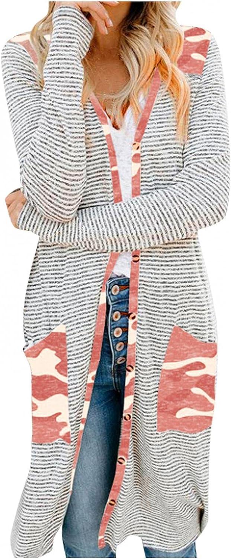 Womens Cardigan Sweaters, Womens Casual Tunics Shirts Tops Long Sleeve Round Neck Loose Soft Striped Tunics
