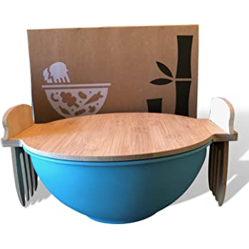 Salad Bowl With Lid And Servers | Eco-Friendly Bamboo Fiber Pasta Bowl and 100% Bamboo Cover With Salad Serving Utensils | Display Cutting Board | Mixing Bowl For Kitchen To Replace Wooden Fruit Bowl