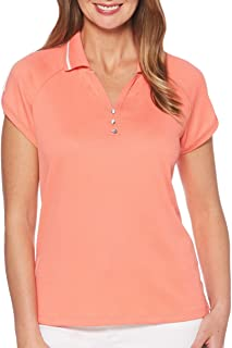Rafaella Island Coral Golf Polo Sportswear UPF 50 Wicking Action Wrinkle Resistant