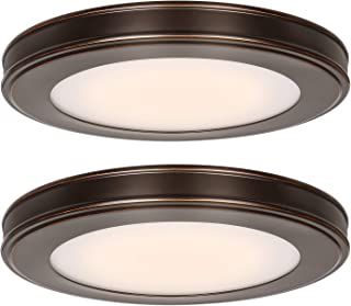 Hykolity 13 inch LED Flush Mount Ceiling Light, 180W Incandescent Equivalent, 3000K/4000K/5000K Switchable 1365LM, CRI90+, Oil Rubbed Bronze Ceiling Lamp for Kitchen Bedroom Bathroom Office-2 Pack