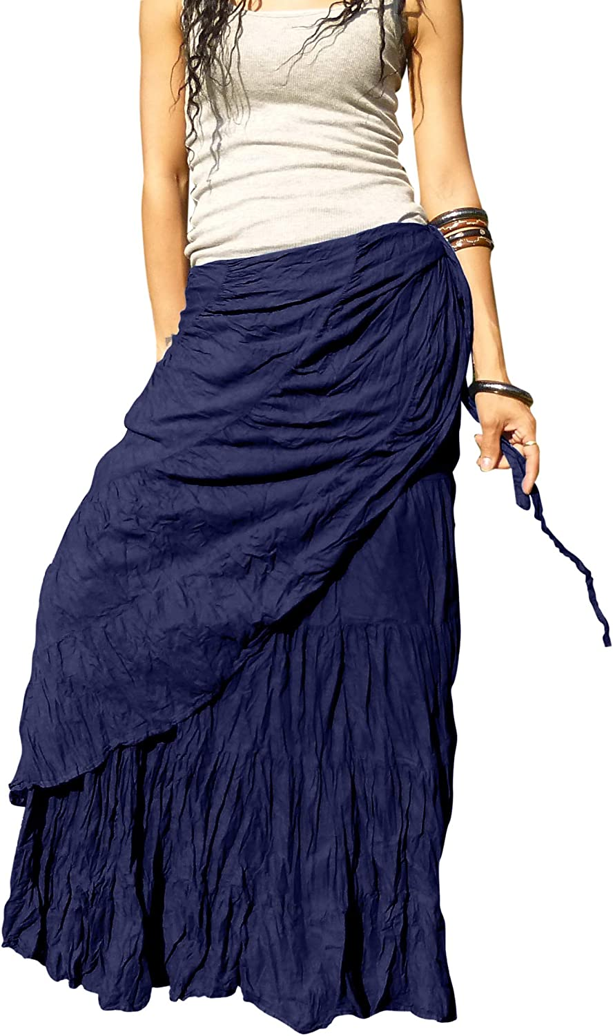 Billy's Thai Shop Long Wrap Skirts for Women - Elegant Stitched and Solid Colored Handmade Flamenco Skirt
