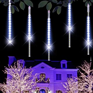 Govee Outdoor Solar Lights 8 Tubes Waterproof Meteor Shower Rain Lights, Falling Rain Drop Christmas Light Cascading Icicle String Lights for Holiday Party Wedding Xmas Tree Decoration