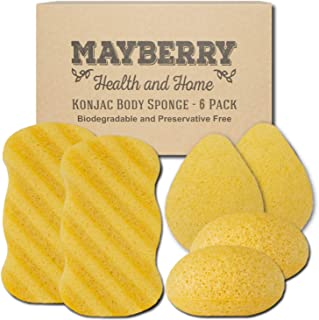 Konjac Body Sponge (6 Pack) Individually Wrapped Multi-Pack Turmeric (Yellow) Konjac Sponges Offer a Gentle Cleansing Experience for Softer Skin