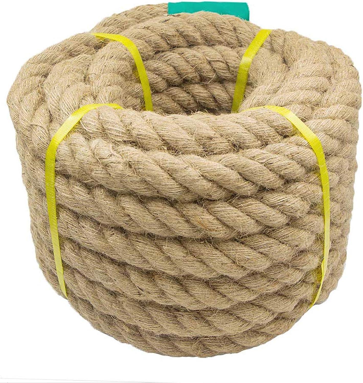 Aoneky Seil für Tauziehen, natürlich Hanfseil, Schwungseil, Schlagseil, Schlacht Seil, Kletterübungen, Tauziehen, Lnge 30m, Duchmesser 40mm