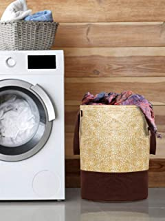 Kuber Industries Metalic Printed Waterproof Canvas Laundry Bag, Toy Storage, Laundry Basket Organizer 45 L (Brown) -KUBMAR...