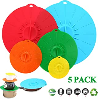 Adpartner Silicone Suction Lids, Set of 5 Colorful Food Covers for Bowls Pots Pans Mugs - BPA-Free Leak-proof Containers Cover, Microwave and Dishwasher Safe - Diameter 4