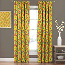 GUUVOR Floral All Season Insulation Flowering Meadow Retro Cottage Cabin Yard Pattern Countryside Theme Noise Reduction Curtain Panel Living Room W72 x L72 Inch Dark Coral Teal and Yellow