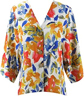 OTW Women V Neck Batwing Sleeve Button Up Casual Floral Tee Shirts Blouse Top