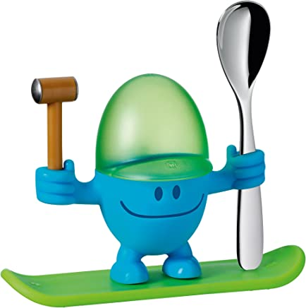 Preisvergleich für WMF McEgg Eierbecher, mit Löffel, Kunststoff, Cromargan Edelstahl poliert, spülmaschinengeeignet, H 11 cm, blau