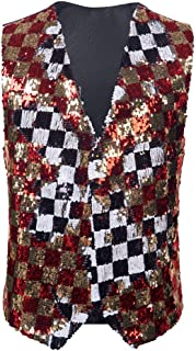 Mens Stylish Double-Sided Plaid Colors Red Gold Black White Sequins Waistcoat Vest