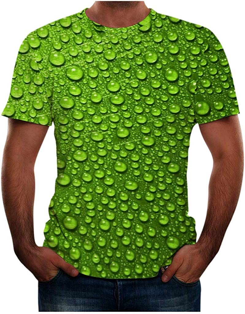 Bravetoshop Men's 3D Pattern Printed Short Sleeve T-Shirts Fashion Casual Top Blouse for Unisex Summer Novelty Colorful Graphic Funny Crewneck Tee Shirts Men New Year's Day Shirt 0949 Green