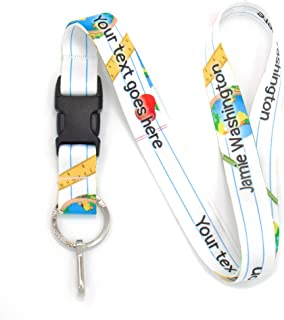 Buttonsmith School Days Custom Lanyard - Customize with Your Text - Buckle and Flat Ring - Made in The USA