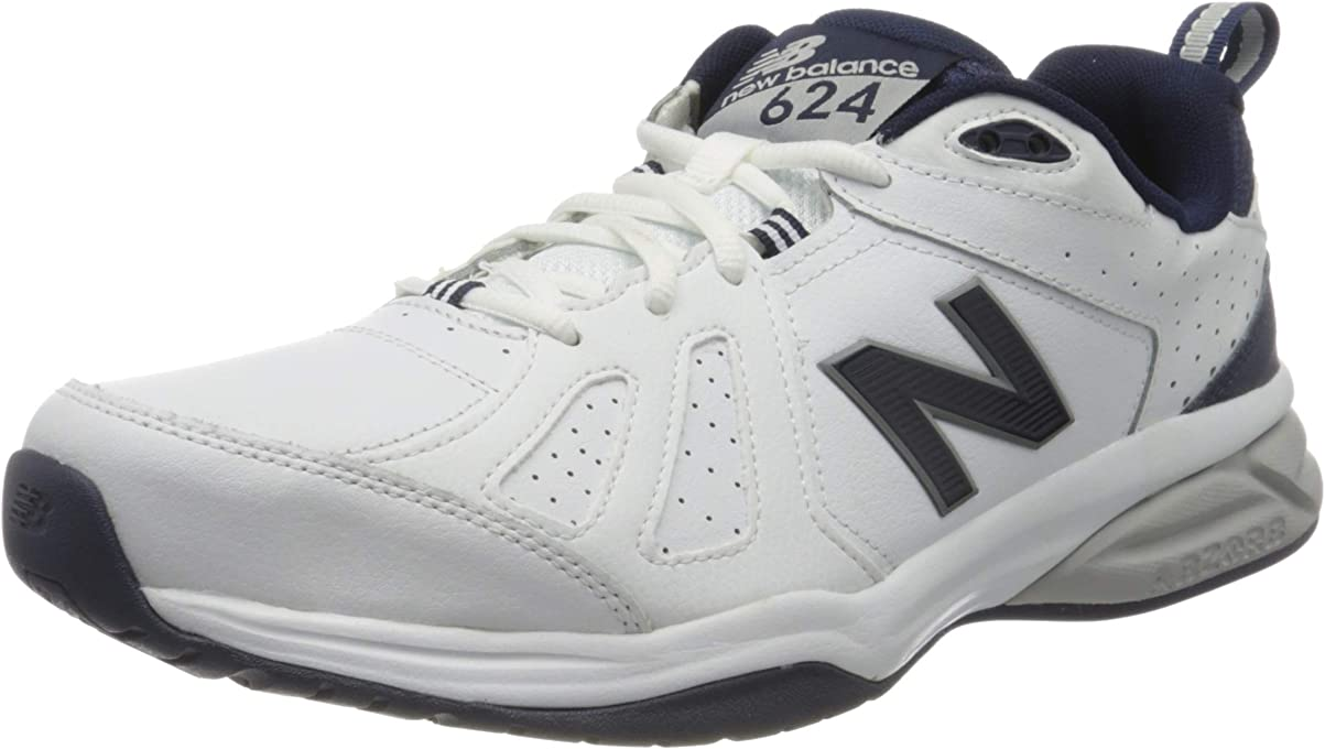 New Balance Men's 624 Cross Training Shoes, White/Navy, 9.5 US (Wide)