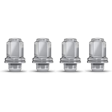 """White Knight 5307L Chrome 1.87"""" Height M12x1.50 Toyota SUV OEM Factory Style Mag Lug Nut with Washer, 4 Pack"""