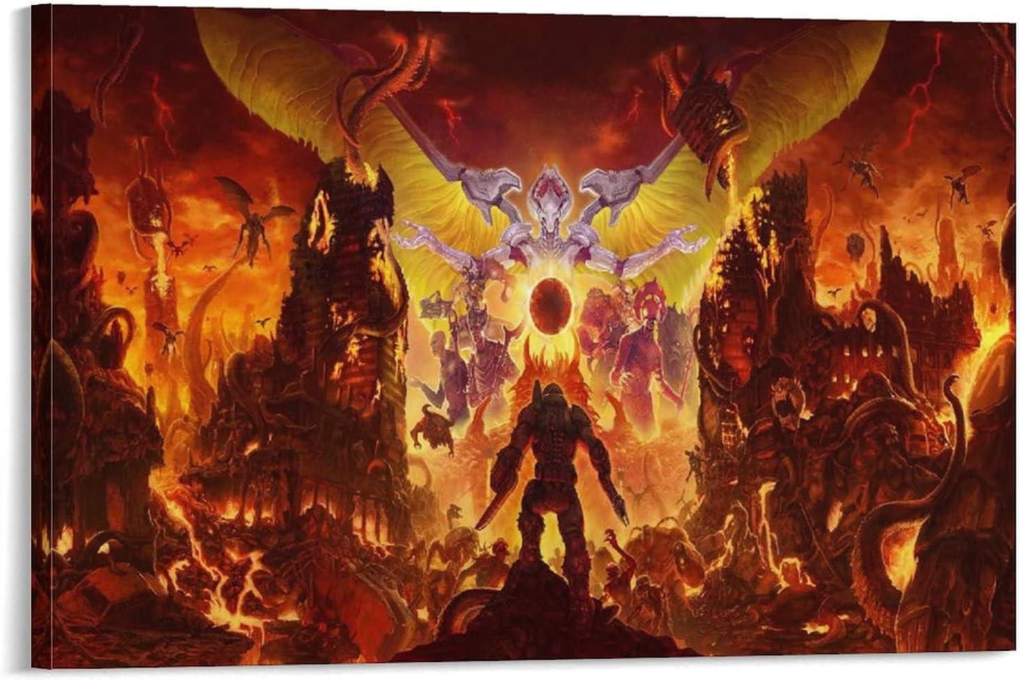 YuFeng_Art_Inn Doom Game Eternal Art Philadelphia Mall Pos Canvas Sales Hell