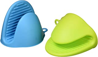 Windspeed Silicone Pot Holder Oven Mitt, Cooking Finger Protector Pinch Grips-Heat Resistant, 2 Pairs (Blue+Green)
