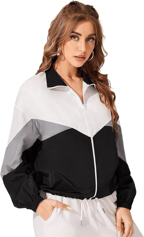 80s Windbreakers, Jackets, Coats | 90s Outerwear SweatyRocks Womens Casual Lightweight Color Block Bomber Jacket  AT vintagedancer.com