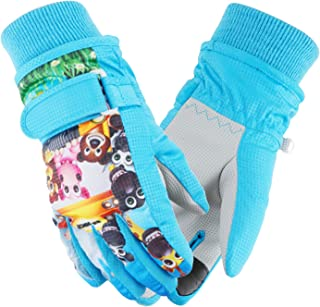 Weanas 儿童滑雪手套冬季保暖手套迷彩印花防水滑雪手套,适合男孩女孩 蓝色 Medium(6-8 Years Old)