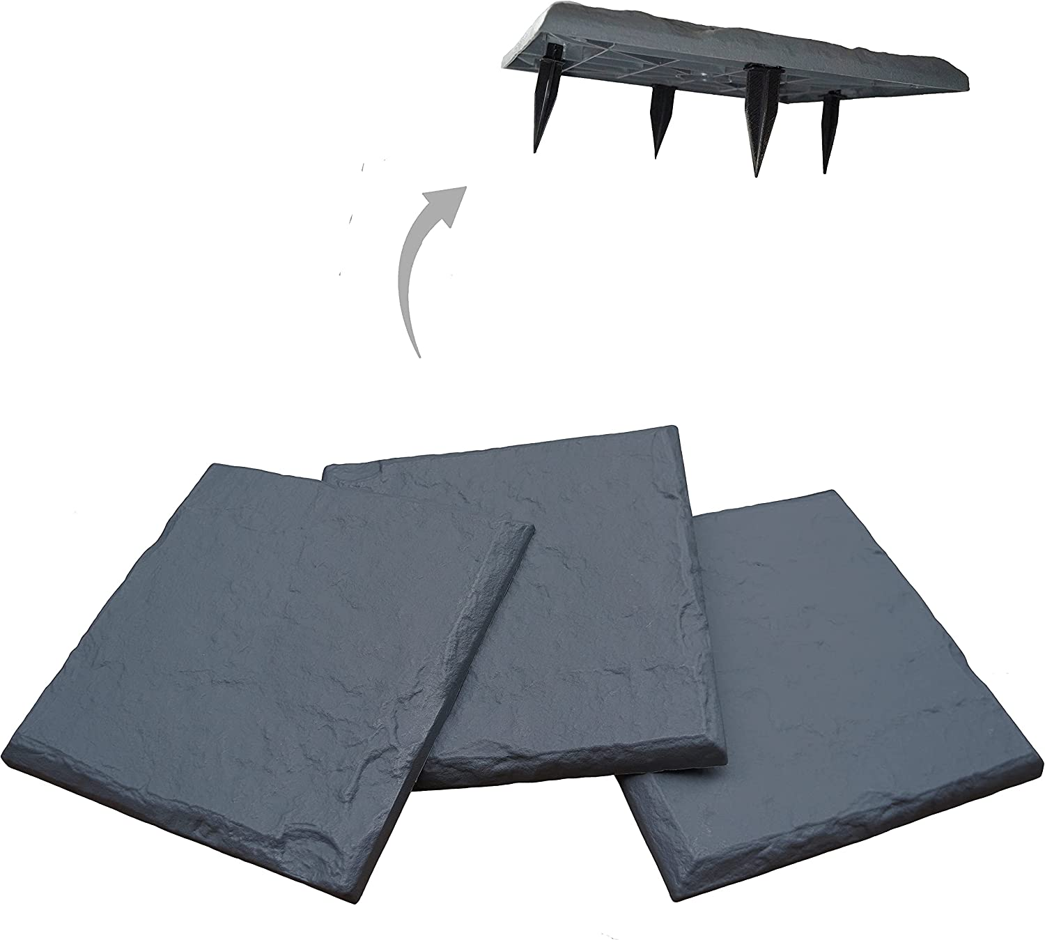 """Gardien 15.5"""" Slate Grey Polyresin Stepping Stones – Now with Larger/Wider 4.25"""" Ground Stakes - Decorative Pavers for Outdoor Walkway, Garden Pathway, Lawn, Yard, or Home Walking Path (8)"""