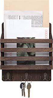 Mkono Mail Sorter Organizer Wood Key Holder Organizer, Rustic Wall Mail Holder with 3 Key Hook Rack, Wall Mount Letter Bills Magazine Coats Organizer for Home Entryroom, Office,Brown
