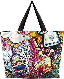 MTFS Damen Handtaschen Digitaldruck Öko-Tasche Umhängetasche Reißverschluss Shopper Paket