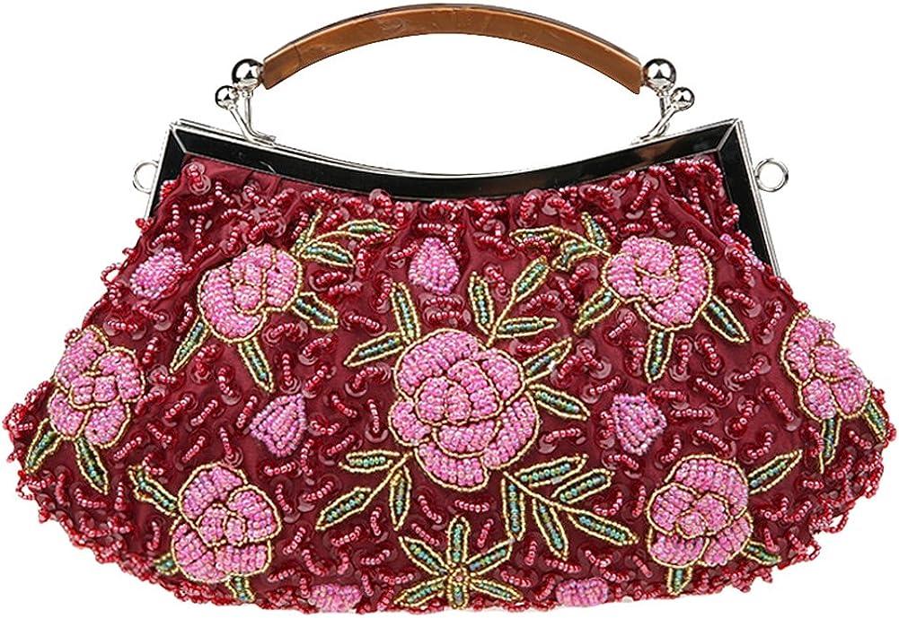 Tortor 1Bacha Women's Beaded Rose Sequin Evening Bag Party Handbag