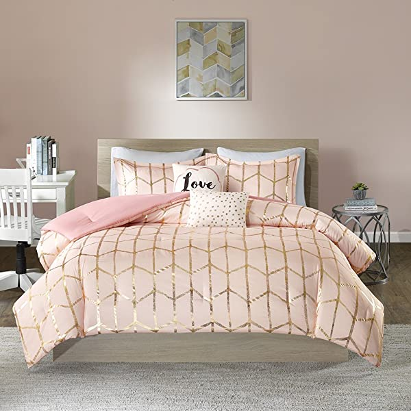 Intelligent Design Raina Comforter Set Full Queen Size Blush Gold Geometric 5 Piece Bed Sets Ultra Soft Microfiber Teen Bedding For Girls Bedroom