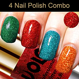 Volo Professionally Used Glitter Shine Nail Polish Combo Pack of 4(Dark Green Glitter, Red Glitter, Sky Blue Glitter, Ligh...
