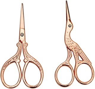 AQUEENLY Embroidery Scissors, Stainless Steel Sharp Stork Scissors for Sewing Crafting, Art Work, Threading, Needlework - ...