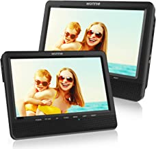 WONNIE 9.5'' Dual Car DVD Player Portable Headrest CD Players for Kids, Built-in 5 Hours Rechargeable Battery Great for Family Travel ( 1 Player+1 Monitor )