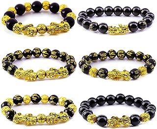 feng Shui Black Obsidian Wealth Bracelet for Men Women Obsidian Bracelet Chinese Dragon Lucky Charm Bracelet Pixiu Pi Yao ...