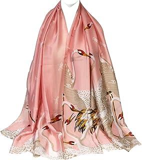 ALLYDREW Large Silky Satin Wrap Scarf Floral Print Shawl Long Satin Wrap Scarf