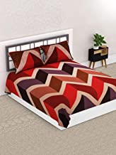 Valito - Microfiber, Double Bedsheet, Queen Size (218 cm x 225 cm) with 2 Matching Pillow Covers - Zigzag Pattern, Orange