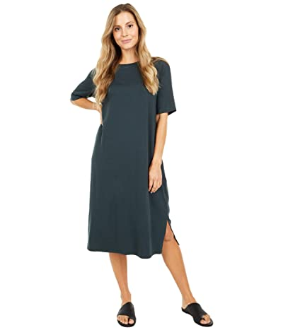 Eileen Fisher Round Neck Short Sleeve Dress with Side Slits (Forest Night) Women