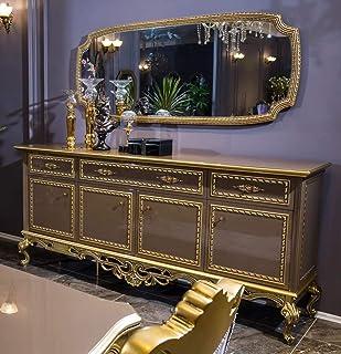 Casa Padrino Conjunto de Muebles barrocos aparador con Espejo GrisOro - Aparador de Madera Maciza Adornada con Espejo de ...