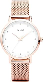 Cluse Women's Pavane 38mm Rose Gold-Tone Steel Bracelet Metal Case Quartz White Dial Analog Watch CL18303