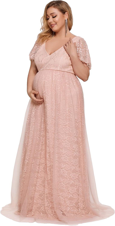 Ever-Pretty Women's Plus Size Lace V-Neck Tulle A-Line Long Maternity Photography Dress 20833-PZ