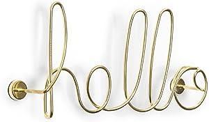 Umbra 1005956-104 Hello Wall Decor, Wanddekoration Schriftzug aus Stahl, Gold