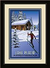 """لوحة فنية جدارية مؤطرة من Northwest Art Mall """"PB-5330 FGDM CCC Lake Placid New York Cross Country Skenders & Cabin من الفن..."""