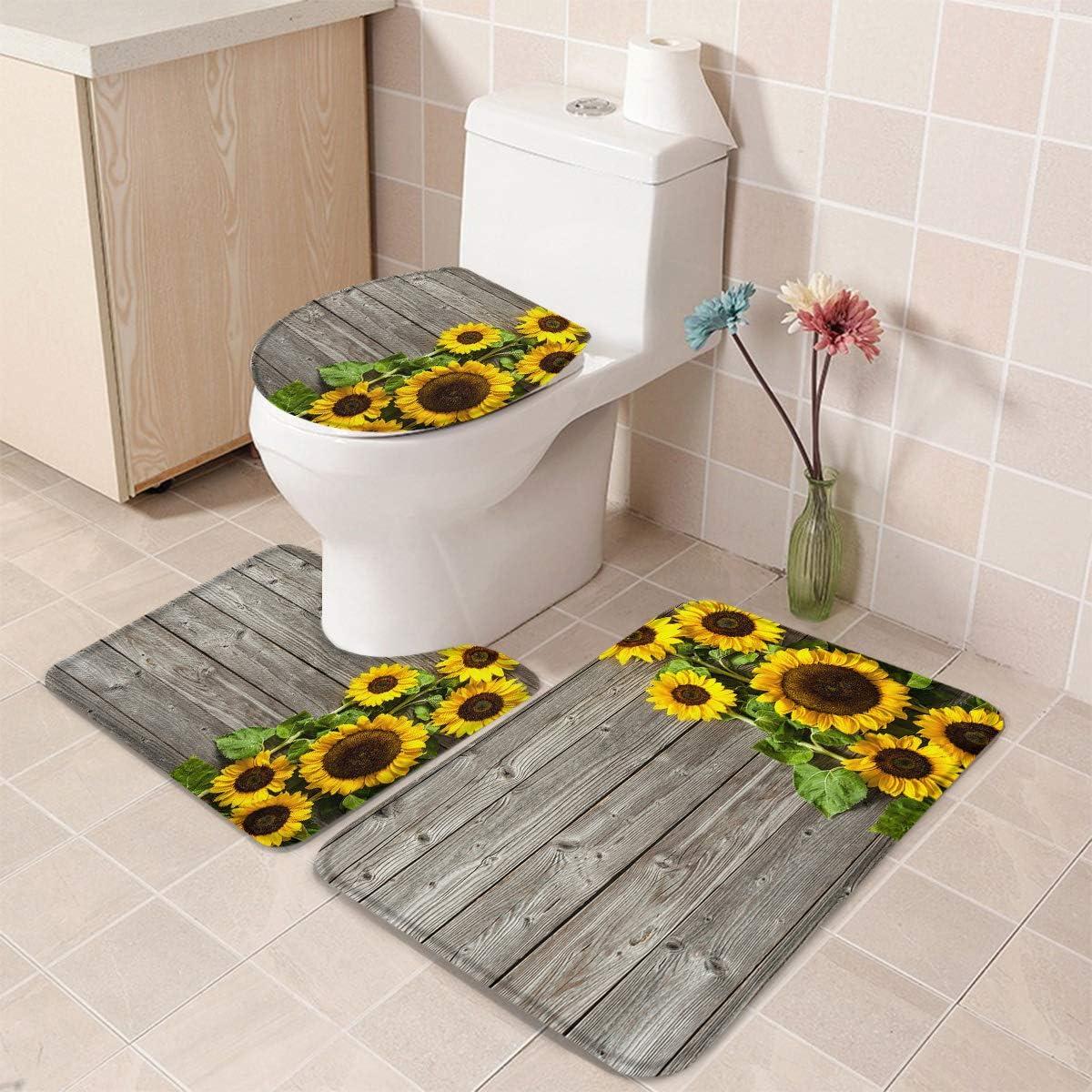 3 Pieces Bathroom Rug Set 卓出 Washable 大注目 Decoration Cover Floor Co