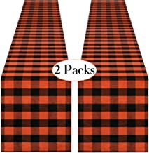 QueenDream 2 Pack Buffalo Check Runner Black and Orange Cotton Table Runner 13x 84 inch Halloween Table Runner for Indoor ...
