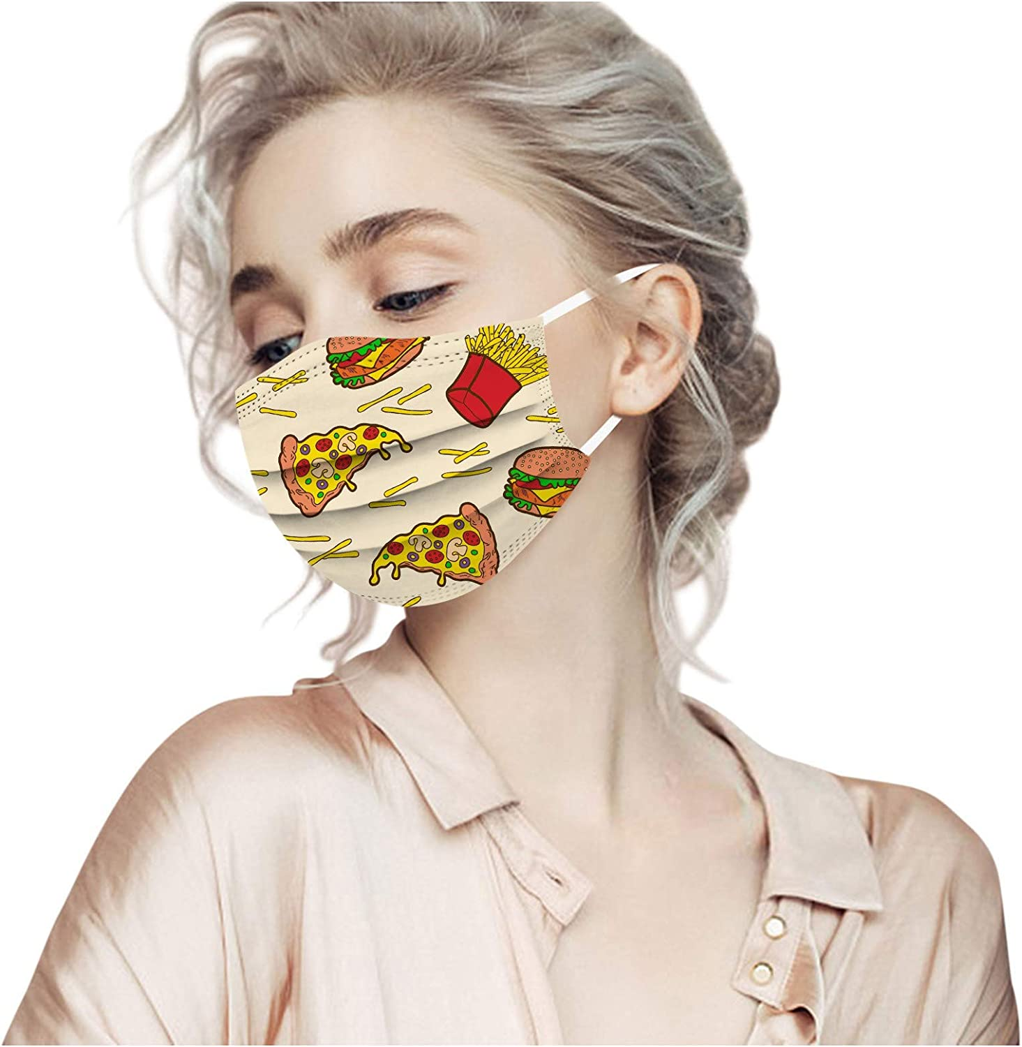 2021 Happy New Year Disposable Face Bandana for Adults,3-ply Non-Woven Fabric High Filtration and Ventilation Security