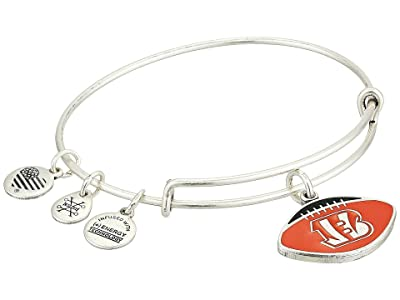 Alex and Ani Color Infusion Cincinnati Bengals Football II Bangle (Rafaelian Silver) Bracelet