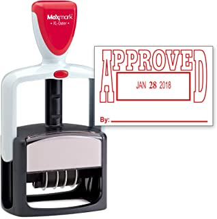 MaxMark Heavy Duty Style Date Stamp with Approved self Inking Stamp - Red Ink