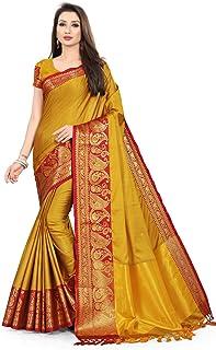 leeza store Women's Banarasi Cotton Silk Saree With Blouse Piece