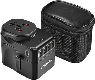 VGUARD Reisadapter, type C+4 USB-poorten 10A internationale universele stekker adapter met afneembare Europa (Schuko) stek...
