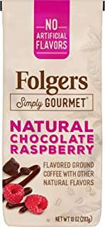 Folgers Simply Gourmet Natural Chocolate Raspberry Flavored Ground Coffee, 10 Ounces