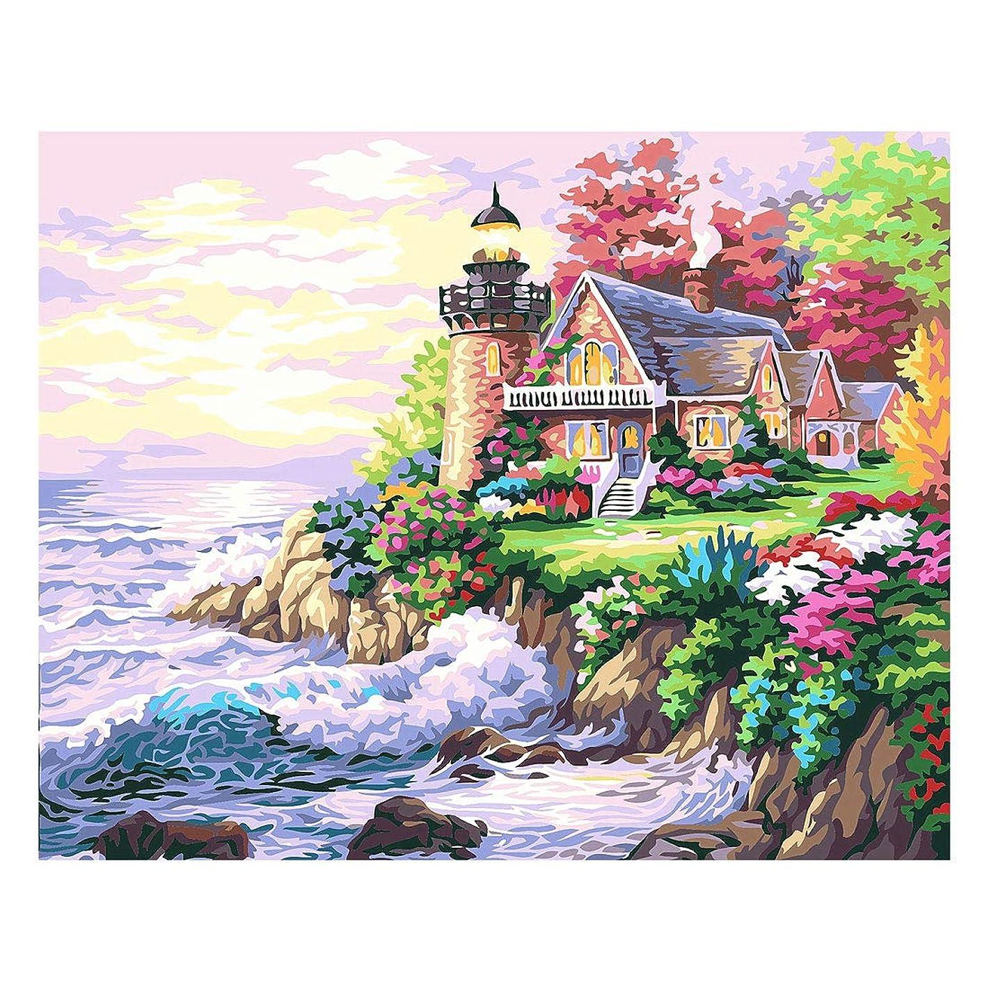 Horseben Art DIY Oil Painting Paint by Numbers kit for Adults Kids Beginner 16x20 Inch (Seaside House) (Frameless)