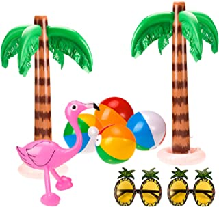 Whaline Set of 9 Inflatable Palm Trees Flamingos Toys Inflatable Beach Balls Pineapple Sunglasses for Hawaii Party Luau Party Decor Beach Backdrop