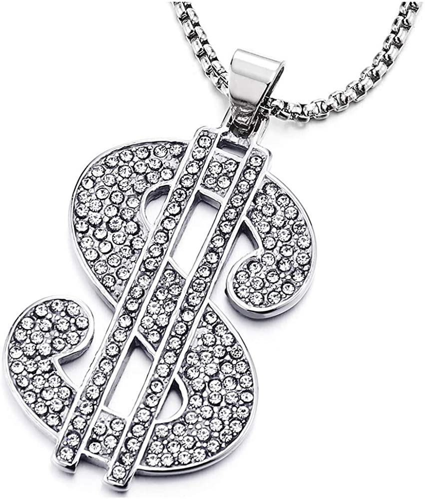 COOLSTEELANDBEYOND Hip Hop Punk, Mens Womens Steel US Dollar Money Sign Pendant with CZ Necklace, 30 Inches Wheat Chain